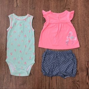 Carter's 3-piece Flamingo Little Short Set